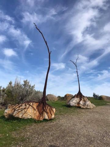 two rocks, each with a tree made out of metal that has rusted. The roots of the tree are sprawling over the rock as though searching for the earth beneath. There is a gravel path in the foreground and a big blue sky with wispy clouds above