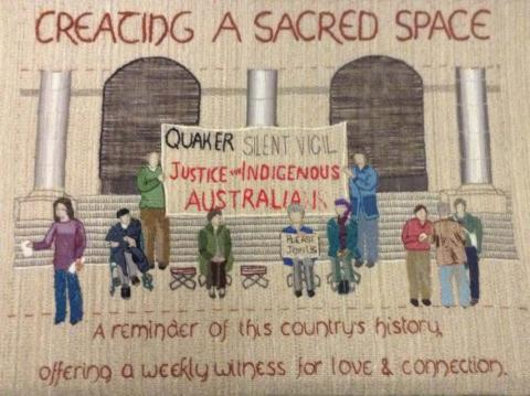 Tapestry image of the Quaker silent vigil