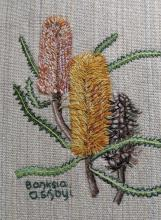Image of embroidered Banksia flowers