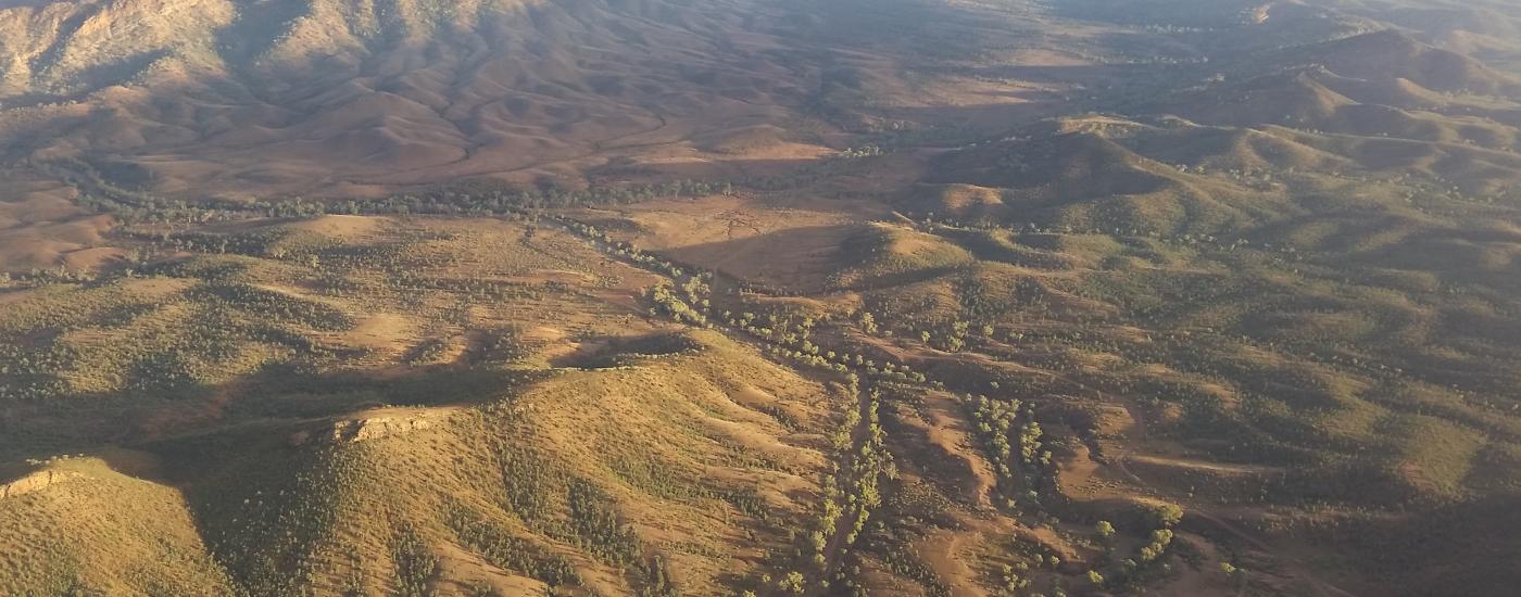 Aerial photo looking north west towards the ABC Range with Elatina Creek in foreground - Ikara Flinders Ranges National Park, South Australia.