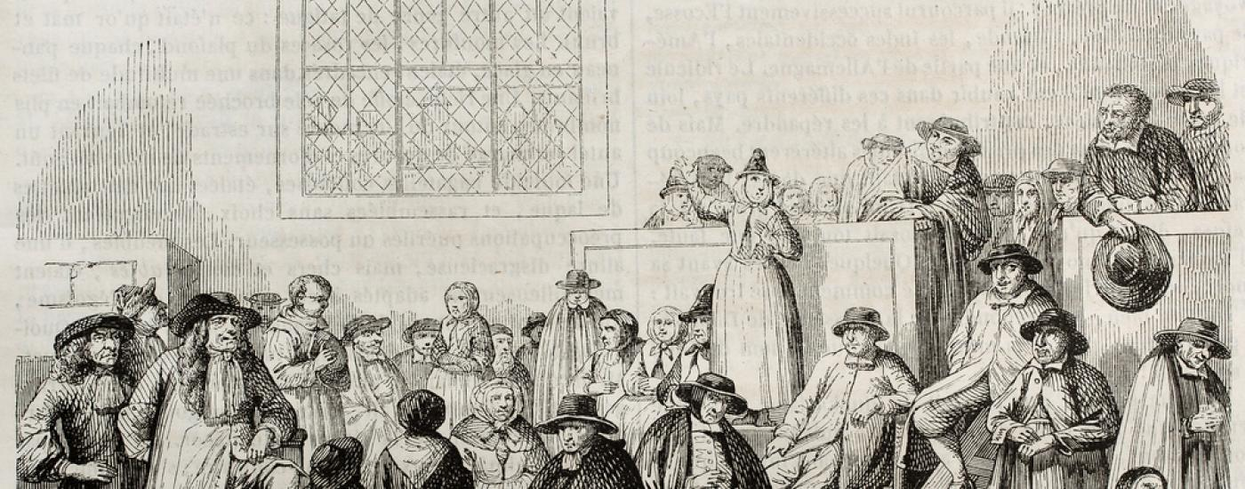Historical engraving of a Quaker Meeting
