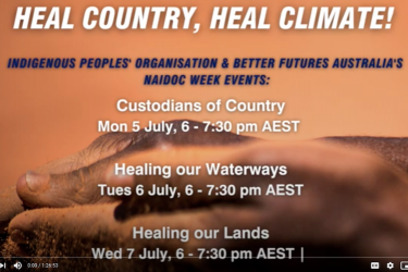 Heal country, heal climate title, with hands clasped holding earth.